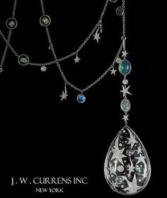 Necklace by J.W. Currens, crystal, diamond, and water opal. I think this was an AGTA Spectrum Award winner.