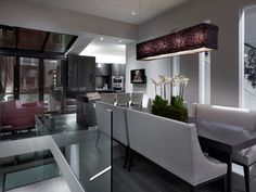 open plan contemporary kitchen dining space in grey white and damson - Townhouse, Notting Hill by Louise Bradley