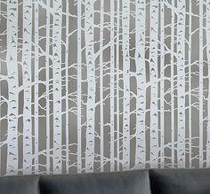 Wall Stencil Birch Forest - Allover wall pattern - Reusable stencil for DIY decor