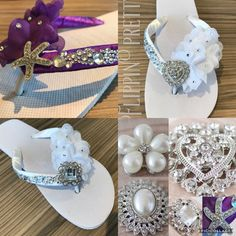 Excited to share the latest addition to my #etsy shop: Bridal flip flops wedding sandals beach bride shoes flat satin chiffon flower diamante colours slipper dancing shoes beach just married gift