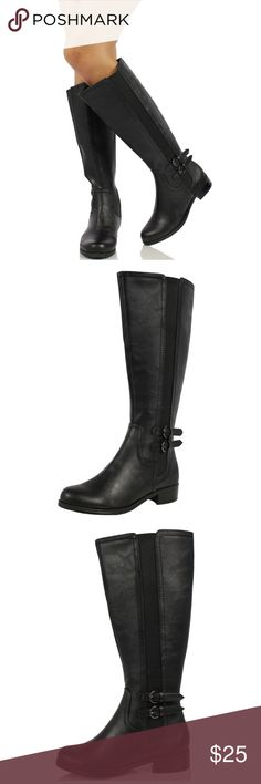 """Black Faux Leather Elastic Side Knee High Boot Riding boots with side elastic band, 2 adjustable buckles, inner side zipper , round toe , Heel approx 1 1/4"""". True to Size Shoes Combat & Moto Boots"""