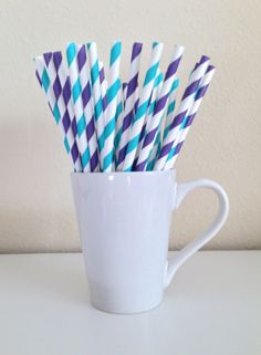 25 Purple and Teal / Turquoise and White Striped Paper Party Straws and DIY Printable Drink Flags / Wedding / Birthday / Shower