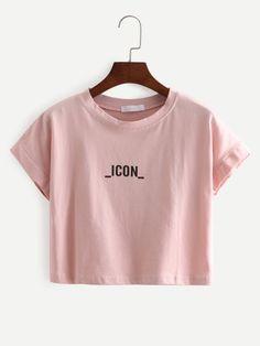 Pink Letters Print Crop T-Shirt
