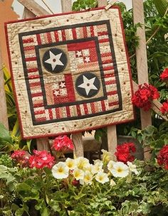 Star Crossed- Red White and Blue Star Small Quilt - Wool Applique and Hand Stitching - Pattern in Stars and Stripes in the Coop by The Little Red Hen