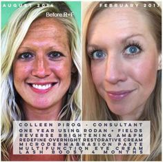 Consultant Colleen Pirog -- Reverse regimen and LASH Boost!! Before R+F: Full makeup (concealer, powder, bronzer, lipstick, eyeliner, mascara) Progress after one year: Minimal makeup (bronzer, mascara, brow gel, lip renewing serum) Message me for yours today!