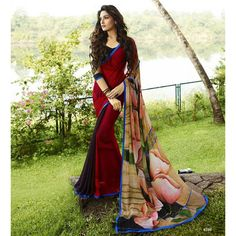 Multicolour Georgette Designer Printed Saree With Embroidered Blouse Piece Crazy Butik Sarees on Shimply.com