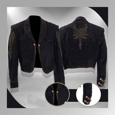 Once Upon A Time In Mexico Antonio Banderas El Mariachi Scorpion Jacket Product Details: Top quality upper shell (Real Leather) Soft inner Movie: Once Upon A Time In Mexico Worn by: Antonio Banderas (El Mariachi) 3 pockets at front Color: Black Brown leather lace trim Large Scorpion on the back Metal Skulls and chains attached to the front and right cuff