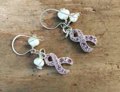Breast Cancer Pink Ribbon and Pearls Earrings Feb by KoloNaia