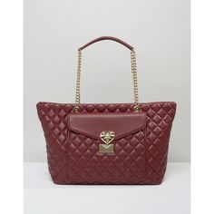 Love Moschino Quilted Tote Bag With Pocket Detail (327 AUD) ❤ liked on Polyvore featuring bags, handbags, tote bags, red, shopping tote bags, handbags totes, quilted leather tote, leather tote bags and leather tote handbags