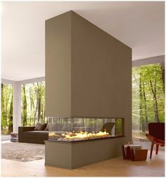 Raumtrenner Ideen, die sowohl praktisch sind als auch toll aussehen lxry fireplace. This would be awesome between our living room & bedroom wall ! House Design, Room Design, Interior Design, House Interior, Fireplace Design, Home, Modern House, Home Decor, Fireplace Modern Design