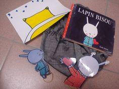 super idée ces sac à album !   sac lapin bisou