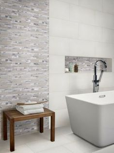 With the Domino 12 x 24 Porcelain Subway Tile in Matte White, it's easy to add a splash of contemporary styling to your decor. This attractive tile features a smooth, low sheen finish with tile piec Bathroom Trends, Bathroom Renovations, Bathroom Interior, Bathroom Ideas, Bathroom Inspo, Bathroom Designs, Basement Remodeling, Basement Ideas, Bathroom Inspiration