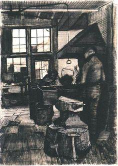 Vincent van Gogh Tienda de herrero Drawing                              …