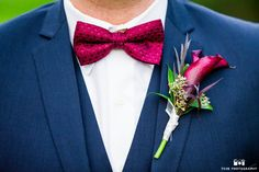 Navy Verona Suit with matching wine colored bow tie and boutonniere. #FriarTux