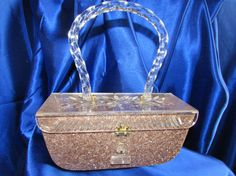 Vintage Rosey Pink Confetti Lucite Purse Mother of Pearl Confetti/Silver Threads Sparkles Clear Double Carved Lucite