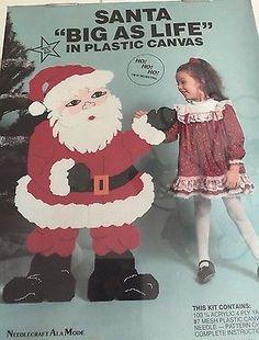 Vintage-Santa-Needlepoint-Kit-Large-Plastic-Canvas-41-034-x-27-034-Big-as-Life-New-NIB