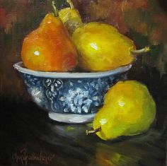 Still Life Painting Small 8x8 Canvas Red Pear by ChatterBoxArt, $65.00