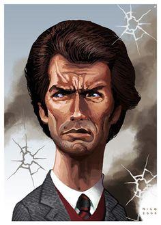 Clint Eastwood as Dirty Harry - Hideous. Cartoon Faces, Funny Faces, Cartoon Art, Cartoon Characters, Funny Caricatures, Celebrity Caricatures, Celebrity Drawings, Caricature Artist, Caricature Drawing