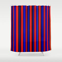 "Stop neglecting bathroom decor - our designer Shower Curtains bring a fresh new feel to an overlooked space. Hookless and extra long, these bathroom curtains feature crisp and colorful prints on the front, with a white reverse side. - One size: 71"" (W) x 74"" (H) - Made in the USA with 100% polyester - 12 buttonhole-top for easy hanging - Machine washable, tumble dry - Rod, curtain liner and hooks not included Striped Shower Curtains, Red Curtains, Custom Shower Curtains, Bathroom Curtains, Black Stripes, Red And Blue, Hooks, Crisp, Colorful"