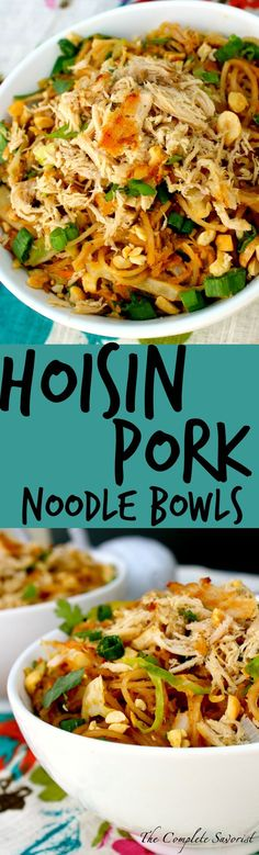 Hoisin Pork Noodle Bowl ~  Slow cooked pork that has been shredded and tossed with stir-fried rice noodles and veggies in a hoisin-peanut sauce. ~The Complete Savorist