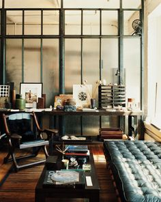 Home office with industrial design elements