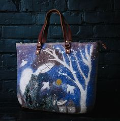 Hey, I found this really awesome Etsy listing at https://www.etsy.com/listing/254955100/hand-made-art-felt-bag-blue-fairy-tale