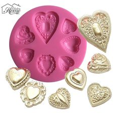 Heart Diamond Silicone Cake Molds Relief Resin Clay Soap Moulds Fondant Cupcake Chocolate Mold Sugarcraft Kitchen Accessories