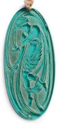 Lalique 1919 'Figurine Drapee' Pendant: oval green glass w/ a single female draped in fabric