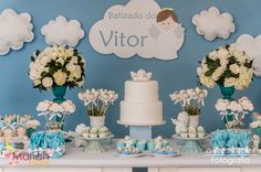 Hoje estamos nas nuvens com o batizado do Vitor | Batizado de menino #batizado #baptized Boy Baptism Centerpieces, Baptism Party Decorations, Christening Gifts For Boys, Boy Christening, Angel Baby Shower, Baby Boy Shower, 1st Boy Birthday, Birthday Parties, Baby Dedication