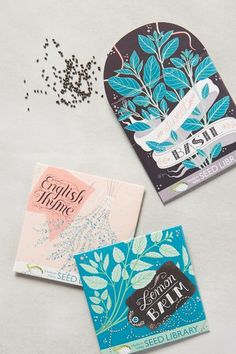 LISA PERRIN has designed very ornate, decorative works in limited palette. Like the risk and graphic impact of sweet basil on the black. Seem interesting as art works in and of themselves, bespoke, boutique seed packaging.