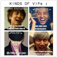 The different kinds of VIPs! Daesung, Seungri , GD and TOP (Choi Seung Hyun) ♡ #BIGBANG #FUNNY