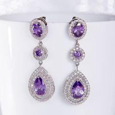 Purple Wedding Earrings Zirconia Earrings Wedding by SwanSignature