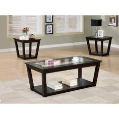 Bailey 3 Piece Occasional Table Set in Cappuccino Finish by Coaster Furniture