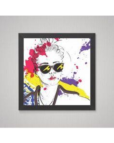 quadro mulher art print madeira