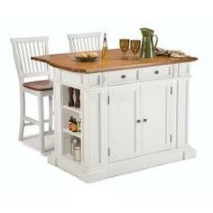 Amazon.com: Home Styles 5002-948 Kitchen Island and Stools, White and Distressed Oak Finish: Home & Kitchen $915.51