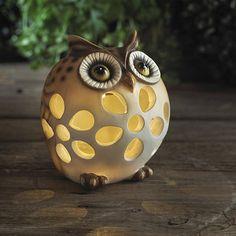 Olly Solar Owl - From Lakeland Ceramic Candle Holders, Diy Candle Holders, Diy Candles, Garden Owl, Lawn And Garden, Garden Ideas, Owl Always Love You, Ceramic Owl, Owl Bird