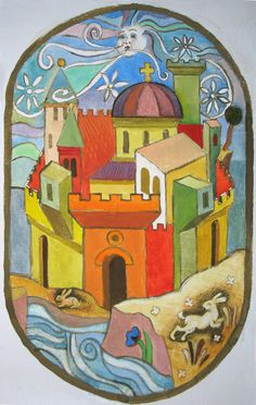 Yuri Yudaev. Esquisse for Glass Painting. 2009. Gouach on paper, 27 x 17 cm