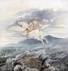 Allegory on Beuth, riding the Pegasus - Friedrich Schinkel, 1837. German, 1781-1841 Watercolor. 37.4 x 35.9 cm