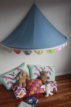 Children's Bed Canopy Circus Tent with Gorgeous Scalloped Bunting - White Trim. $75.00, via Etsy.