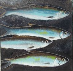 Sardines turquoise and gold on canvas 30 × 30. Acrylic by Valérie Neige