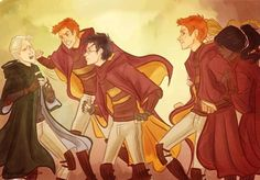 Scene from Order of the Phoenix where Harry, Fred and George attack Malfoy on the Quidditch pitch.
