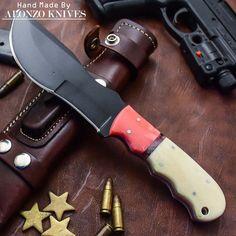 ALONZO KNIVES USA CUSTOM HANDMADE BUSHCRAFT TRACKER 1095 KNIFE CAMEL BONE 659 #AlonzoKnives