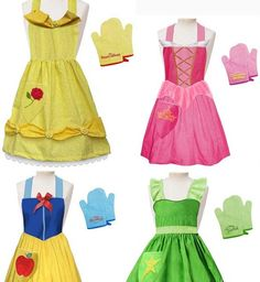 disney princess aprons...perfect for dress up without having to do the full dress! I want these for me!