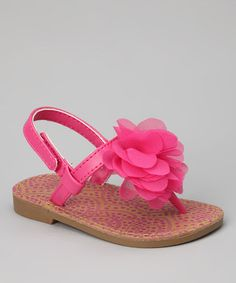 Take a look at this Fuchsia Pom Pom Sandal - Infant, Toddler & Girls by Natural Steps on #zulily today!
