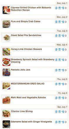 Weekly Meal Plan - Summer Favorites
