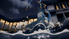 """Kya, the waterbending daughter of Avatar Aang and Katara, is very casually water-slapping an airplane OUT OF THE SKY. 