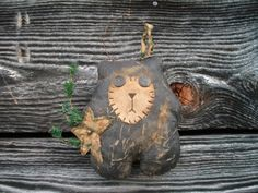 Extreme Primitive Whimsical Bear  Doll  Shelf by CaneRiverCrafts