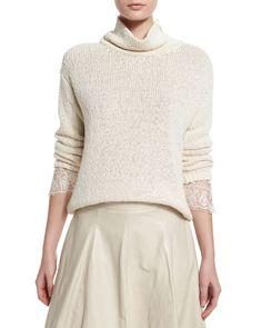 W0A1C Brunello Cucinelli Knit Lace-Cuff Turtleneck Sweater, Butter