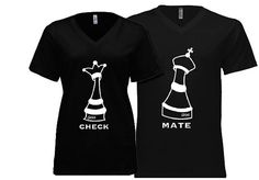 Couple Tshirt his and hers Check Mate Chess theme. by EQuilove, $35.00