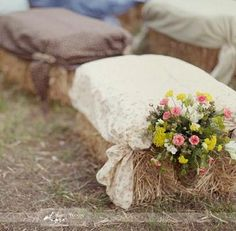 fall decorated hay seats for weddings - Cute Idea but not sure what to do about incorporating real chairs for older people. Something to think about!
